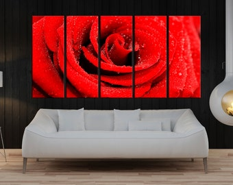 red rose wall art print, flower canvas art, rose wall print, fine art canvas, large wall art home wall decor, rose canvas art 8a05