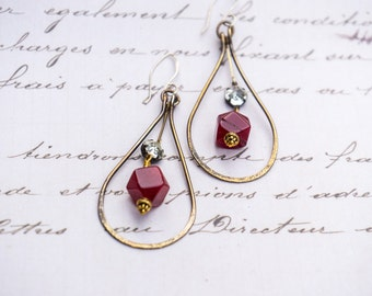 Brass hoop earrings, Red gemstone, Antique Rhinestones, Vintage, Teardrop Earrings, Red Earrings, Christmas Earrings, Boho, Big Hoops