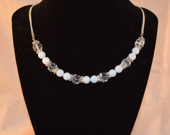 White and Clear Crystal Necklace