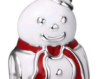 SALE-Authentic .925 Sterling Silver Happy Snowman. Bead Charm Stamped 925