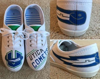 Hand-Painted Utica Comets Hockey Sneakers