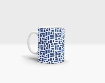 Blue Paint Strokes Mug. 11oz Ceramic Mug.