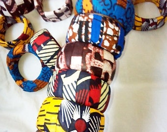 round and square blue, yellow, brown and orange african prints bangles