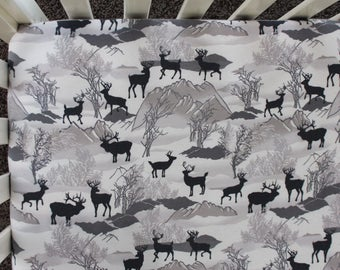 Deer & Mountains Flannel Fitted Crib Sheet. Baby Bedding. Crib Bedding Sets