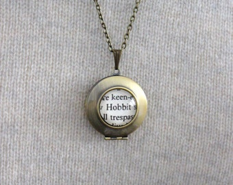 Lord of the Rings 'Hobbit' Tolkien Book Page Locket Necklace.