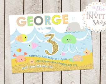 cute under the sea invite beach water ocean sea cute sea creatures birthday - Under The Sea Party Invitations