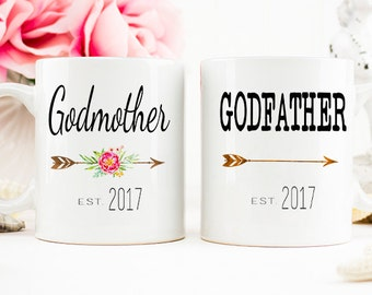 Godfather Godmother Gift, Baptism Gift, Christening Gift, Godmother mug, Godfather mug, gift for godmother, Godfather gift Godparent mugs