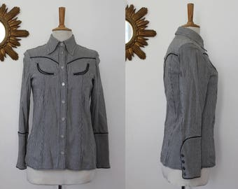 Christian Lacroix Jeans, shirt, jacket, blazer long-sleeved, fitted, piping, western cowgirl, gingham, vintage, size M