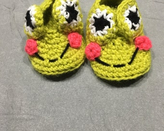 Crocheted frog slippers