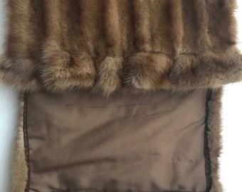 Wide wild mink scarf
