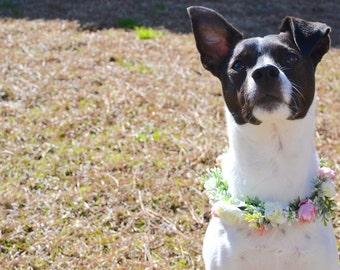 "The ""Jackie"" Floral Halo // Dog flower crown, dog flower collar, puppy flower crown, puppy flower collar, dog floral wreath, dog photography"