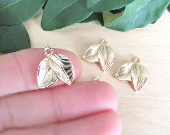 Gold Leaf Charms, set of 5, tree leaf charms, gold double leafs, nature charms, tree leaf, metal leafs, small charms, golden leafs