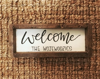 Welcome Sign | Family Name Sign | Family Established | Wooden Sign | Farmhouse Style | Wedding Gift | Anniversary Gift | Personalized