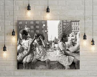 Foto de chicas afroamericanas, St. Louis Missouri, 1940, arte afroamericano, Foto antigua de St. Louis, St. Louis decoración, retratos de las niñas