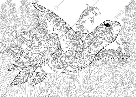Adult Coloring Pages Sea Turtle Zentangle Doodle Coloring