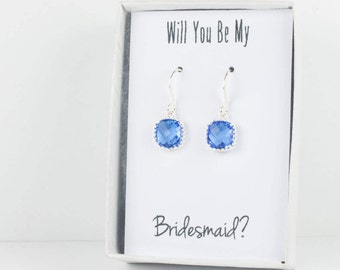 Sapphire Silver Earrings, Sapphire Blue Square Earrings, Bridesmaid Earrings, Blue Wedding Jewelry, September Birthstone Earrings