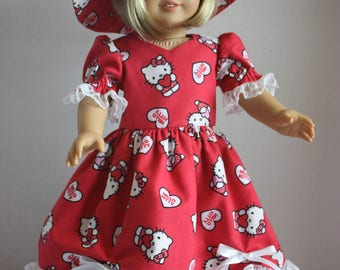 Red Hello Kitty fancy dress with matching hat, American Girl party dress, Fits 18 inch American Girl doll