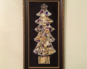 Framed Vintage Jewelry Christmas Tree #23