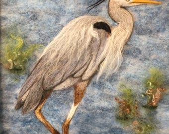 """Hector - needle felted blue heron picture in a 12"""" x 12"""" frame"""