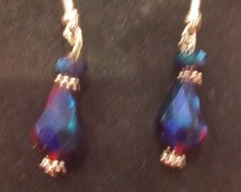Purple Blue Opalescent Drop Earrings