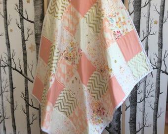 Baby Girl Cot Quilt in Peach Gold Swan Chevron Star Pattern, Toddler Quilt