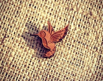 Hummingbird Laser Cut Wooden Brooch - Natural cherry wood - Wood Pin - Spring, Summer