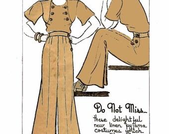Chic 1930's Vintage Sewing Pattern Beach Pyjama High Waist Trousers Pants Boyd WW2 WWII B 31