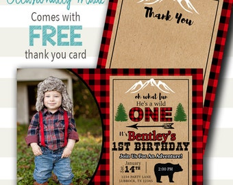 He's A Wild One Lumberjack Birthday Invitation - Digital File or Prints - Red Black Buffalo Plaid / Camping / Adventure / Mountain / Rustic