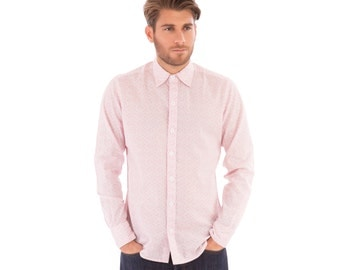 Mens 100% Cotton Long Sleeve Slim Fit Shirt Pink Flower Floral Print Lightweight Material