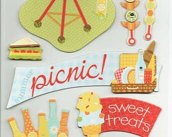 BBQ Summer K&Company Chipboard Stickers Scrapbook Embellishments Cardmaking Crafts