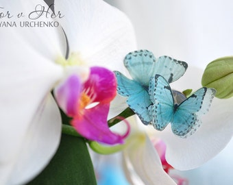 ring with butterfly blue butterfly ring blue ring gift for her Unique jewelry Silk butterfly Tender gift for birthday gift idea women bride
