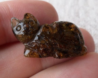 2,84gr. CAT Authentic Black Miniature Natural Real Hand Carved Baltic Amber Amulet