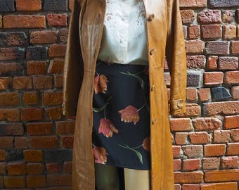 Women's 90s Tan Brown Leather And Suede Long Coat Jacket With Waist Belt Size XS - S
