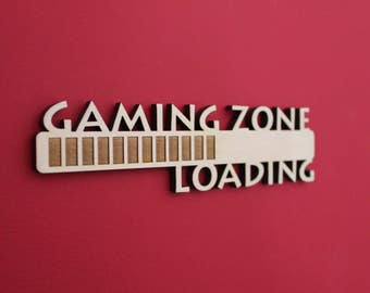 Gaming Zone Loading, Controller, Video Game, Xbox, Nintendo, Playstation, PS, Wii, Computer, Laser, Cut Out, Engrave, Unfinished, Wood, Sign