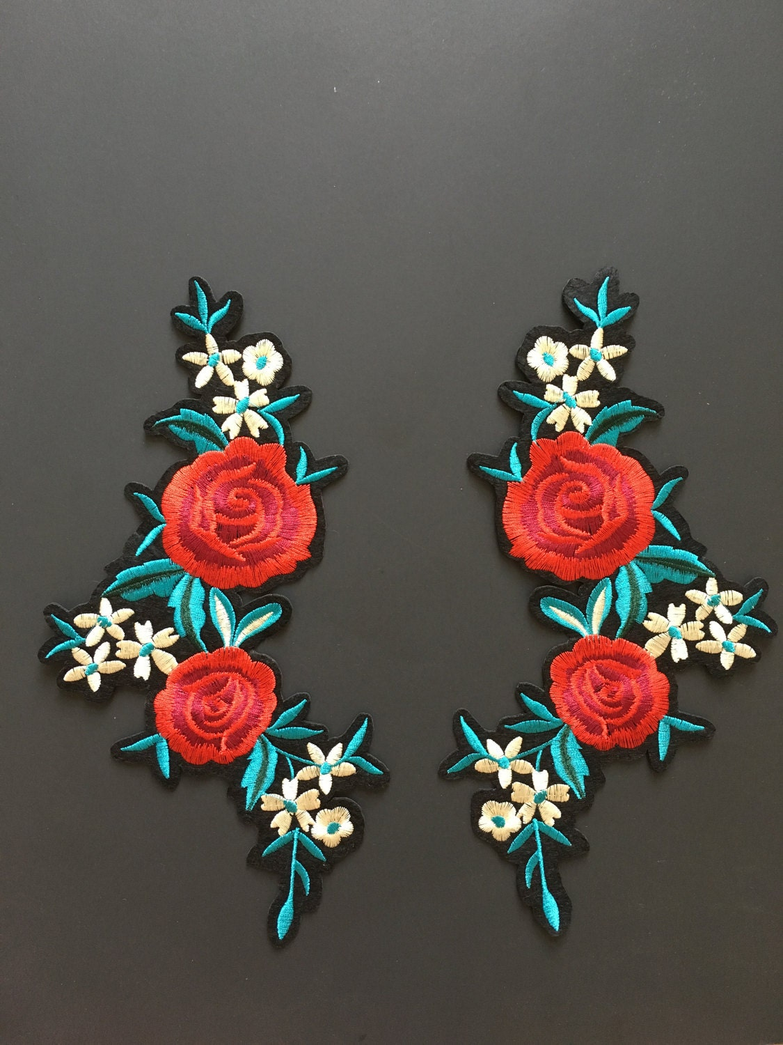 Iron on patch embroidery gucci style patches rose