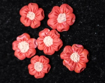 3 Polymer Clay Flowers with Five Lobed Petals