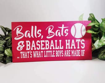 Baseball Wood Sign | Baseball Sign | Little Boys Made Of | Baseball Decor | Baseball Gift | Baseball Kids Room | Baseball Quote | Room Decor