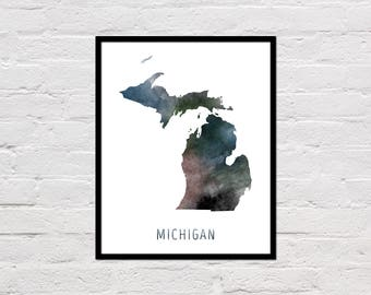 Michigan Map Print, Michigan Art Print, Michigan Printable Wall Art, Watercolor Map, Michigan Poster, Printable Michigan State Map, Download