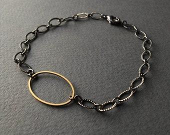 Brass Oval & Gunmetal Bracelet -- large