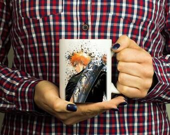 Ichigo, Bleach Anime Mug, Color Changing Mug, Watercolor Coffee Mug, Kurosaki Ichigo, M067