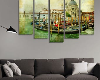 LARGE XL Grand Canal in Venice Canvas Print Gondolas Canvas Artistic Retro Vintage Picture Canvas Wall Art Print Home Decoration - Stretched