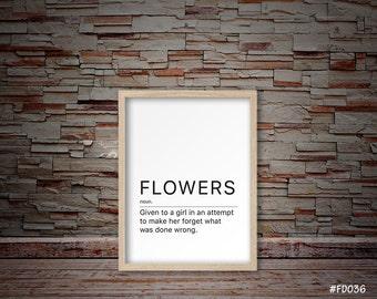 Flowers decor, Flowers print, Funny definition of flowers print, Fun definition print   #FD036