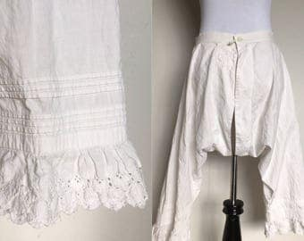 SALE! | Cover Up Bloomers | 1900s Vintage Edwardian White Cotton Split-Drawer Pantaloons | Size XS/S