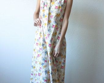 Grunge Floral Dress // 90s Maxi Dress White Floral Button Up - Small