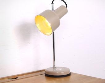 Mid Century Adjustable Taupe & Chrome Desk Lamp