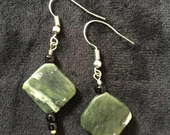 Marbled Green Agate Earrings