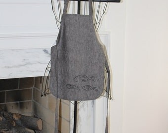 Children's Apron, Black Linen, Size Small, Reversible, Handmade, Ocean Theme