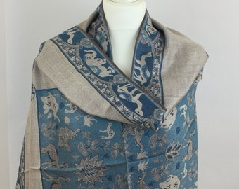 Elephant Camel Beige/Teal Blue Shawl Wrap, Spring Summer Shawl, Women Scarves, Gift For Her, Accessories, Shawls and Wraps
