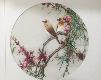 Embroidered painting- Flower and Bird
