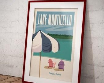Charlottesville, Lake Monticello, Palmyra, Virginia Retro Travel Poster